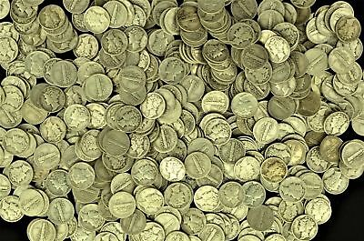 Lot of (100) Collectible Mercury Silver Dimes $10 Face Value (msdd)