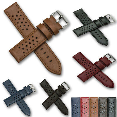 Mens Rally Racing Sports Genuine Calf Leather Perforated Watch Strap Band Tan