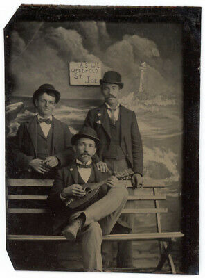 3 Men In Derby Hats With Mandolin & Cigars & Painted Ocean Lighthouse Tintype