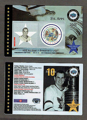 2001 Canada Post NHL All-Stars, Maple Leafs' Syl Apps Laminated Stamp Card