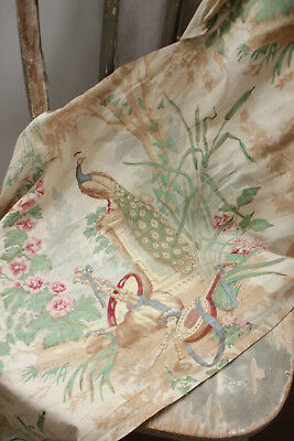 Long Valance or Ruffle Antique French 1880s peacock & lute scene pattern textile