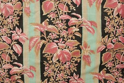Fabric Antique French Black & Teal Stripes w/ red pink florals 1880 Belle Epoque