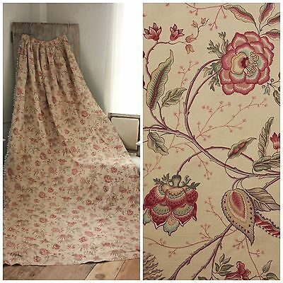 Long Curtain Antique French w/ blue trim cotton indienne floral fabric c1900