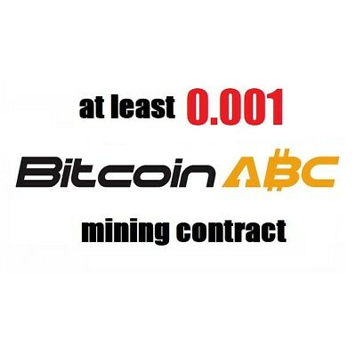at least 0.01 Bitcoin Cash ABC (BCH) 1 hour Cryptocurrency mining contract