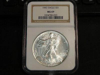 1993 $1 American Silver Eagle 1 oz ounce pure 999 NGC MS69 Superb Gem Unc.