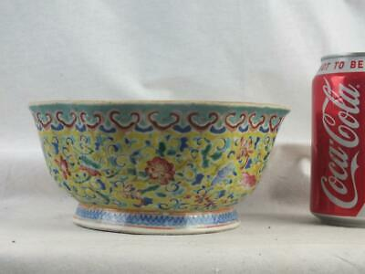 19Th C Chinese Porcelain Famille Rose Enamelled Yellow Ground Bowl- Marked