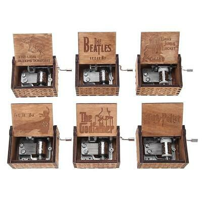 Retro Vintage Carved Hand-cranked Engraved Wooden Music Box Toys Xmas Kids Gift