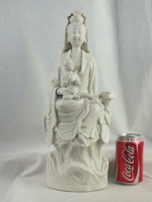 """Large 16"""" 19Th C Chinese Porcelain Blanc De Chine Guanyin And Child"""