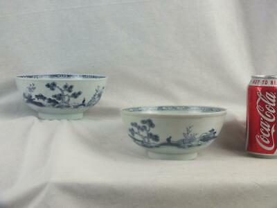 Pair 18Th C Chinese Porcelain Christie's Nanking Cargo Blue & White Bowls