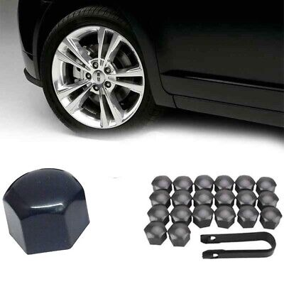 20x 17mm BLACK ALLOY CAR WHEEL NUT BOLT COVERS CAPS FOR OPEL VW NISSAN MAZDA BMW