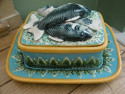 SUPERB 19thc LARGE MAJOLICA FISH SARDINE BOX WITH TRAY C.1880