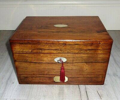 Antique Rosewood Vanity Box By J. Mechi Of London, Hallmarked Silver Contents