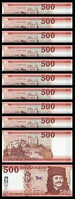 Hungary 500 Forint 2018 (2019) , UNC , 10 PCS LOT , Consecutive , P-New Design