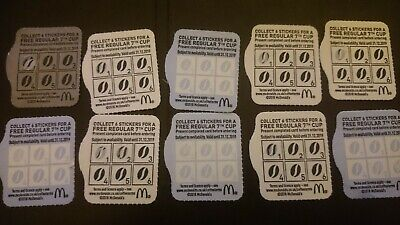 10 McDonalds Coffee Loyalty CARDS inc TEN Bean Stickers 31.12.2019 Expiry