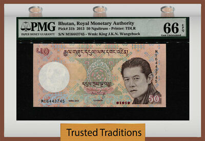 "TT PK 31b 2013 BHUTAN 50 NGULTRUM ""KING WANGCHUCK"" PMG 66 EPQ GEM UNCIRCULATED!"