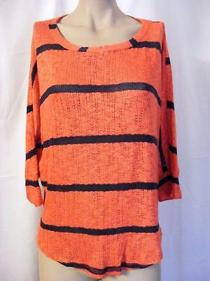 1d4655d5 $84 SPLENDID Boatneck Dolman Sleeve Striped Knit Top Orange/Blue Medium (6-8