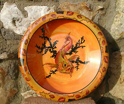Art Deco Crown Ducal  Highly Decorative Colourful Bowl With Large Koi Carp Image