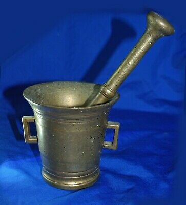Large Heavy Antique Brass MORTAR and PESTLE Apothecary, Pharmacy, Kitches, Show
