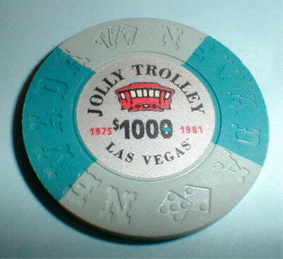 $1000 Chip Jolly Trolley Casino Las Vegas Nevada Borland 1975-1981 & Casino Info