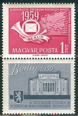 HUNGARY-1959. Postal Ministers Conference with label  - Vertical MNH! Mi:1592.