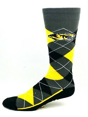 premium selection 7524b 2f2ca Missouri Tigers For Bare Feet Gray Black and Gold Argyle Crew Dress Socks