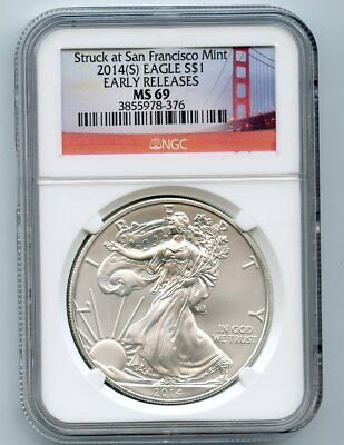 """2014-S """"Early Release""""  American Silver Eagle Dollar (MS 69) """"Red Label"""" NGC"""