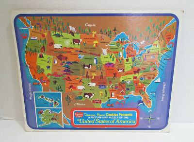 Duncan Hines Cookies United States Map Frame Tray Puzzle Premium Vintage 100%