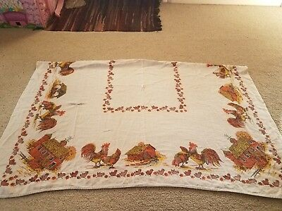 Vintage linen roosters chicks Barn tablecloth 48 in by 62 in
