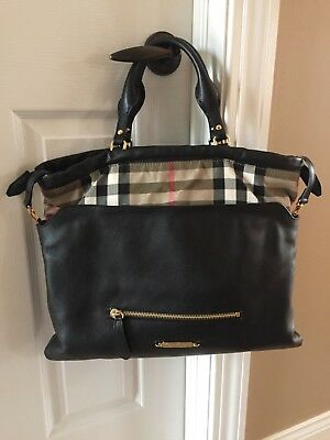 a1986f40f505 Authentic Black Burberry - House Check Soft Leather Big Crush Tote    Crossbody