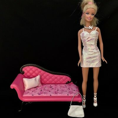 Super Cute Barbie Doll Necklace, Snowflake Purse, White Tight Party Dress Chaise