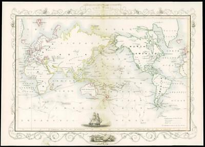 """1850 Illustrated Antique Map """"THE WORLD CAPTAIN COOK MERCATOR by Tallis (230d)"""