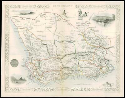 """1850 Original Illustrated Antique Map of """"CAPE COLONY""""  by Tallis (63d)"""