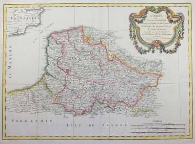 1771 - Antique Map FRANCE regions of PICARDY ARTOIS FRENCH FLANDERS Normandy