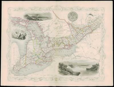 """1850 Original Illustrated Antique Map of """"WEST CANADA""""  by Tallis (62d)"""