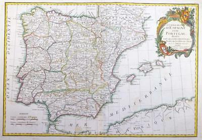 1771 - Decorative Antique Map of SPAIN & PORTUGAL Iberian Peninsula by Janvier
