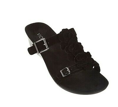 c3e19ee51773 Vionic Orthaheel PARK CLAY Orthotic Suede Wedge Sandals BLACK Size 9 M NIB