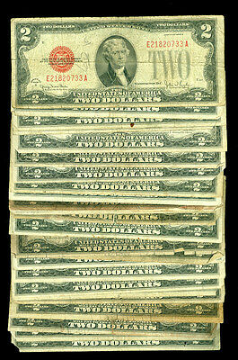 (25) 1928 SERIES $2 RED SEAL LOT Thomas Jefferson
