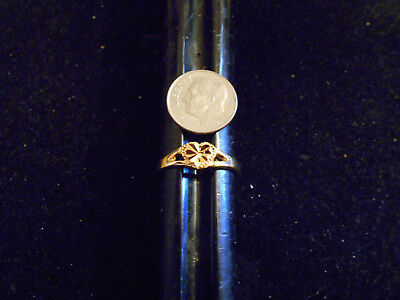 bling gold plated sweetheart fashion heart solitaire metal ring hip hop sz 8 gp