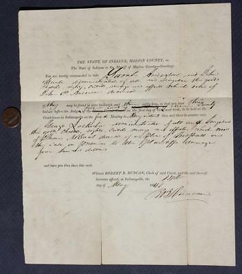 1840 Indianapolis Indiana Corson Vickers 5th Sheriff document-Lockerbie Square!*