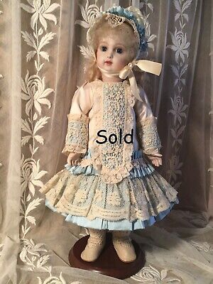 """SOLD  French Doll Dress for 14"""" Antique Lace Victorian Style - Cream and Blue"""