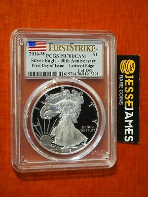 2016 W Proof Silver Eagle Pcgs Pr70 Dcam Flag First Strike First Day Of Issue