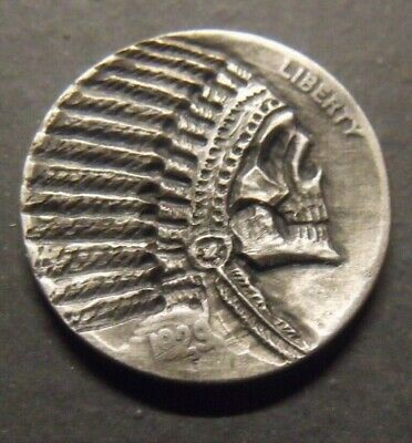 Hand Carved  Hobo nickel   Chief  skull zombie unsigned