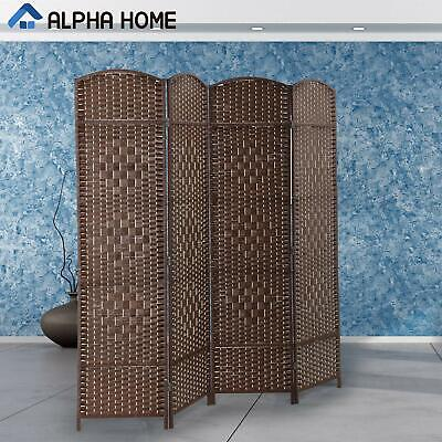 ALPHA HOME 4 Panel Room Divider - Handcrafted Wood Framed Folding Privacy Screen