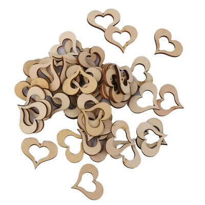 50Pcs Wooden Love Shape Hearts Patches Blank Hollow Embellishments Crafts Decor