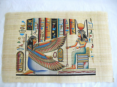 """Egyptian Papyrus Paper Painting Goddess Isis & Winged Maat 25""""X17"""""""
