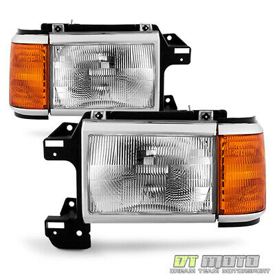 1987-1991 Ford Bronco F150 F250 F350 Truck Replacement Headlights Headlamps Pair