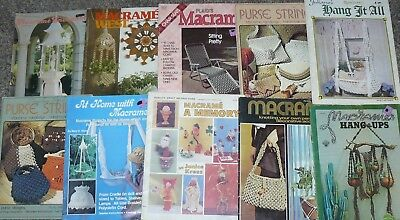 Lot of 10 Vintage Macrame Pattern Craft Books Fashion Accessories Home Decor....
