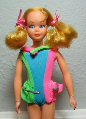 Vintage 1970 Mod Era Dramatic New Living Skipper Barbie Doll & Swimsuit