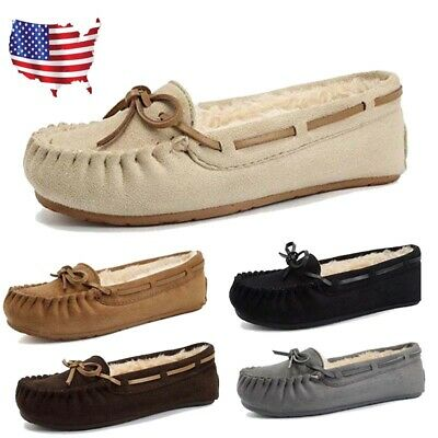 Women's Suede House Shoes Slippers Moccasins Faux Fur Lined Indoor Warm Loafers