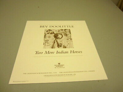 Pencil-Signed Numbered Bev Doolittle TWO MORE INDIAN HORSES Unframed Print w/COA
